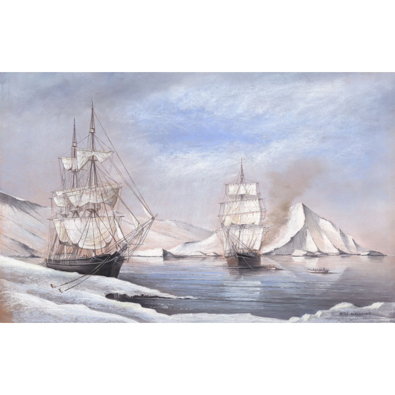Arctic Whalers, Among the Floes - Edwin Blackburn Image