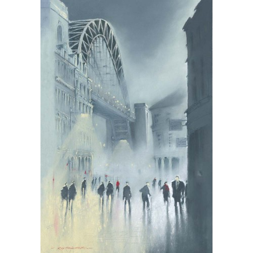 Tyne Bridge -Mist. Small framed print - Roy Francis Kirton Image