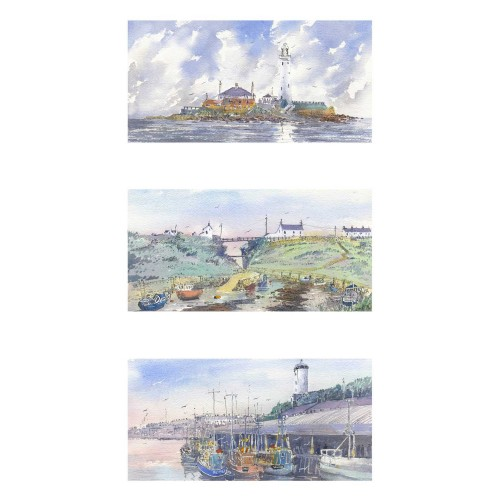 Views of North East coastline. Triptych - Roy Francis Kirton Image