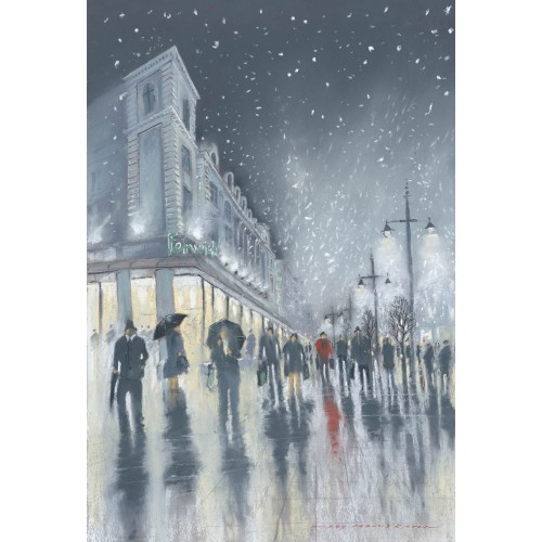 Winter Shopping, Northumberland Street small framed print - Roy Francis Kirton Image